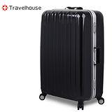【Travelhouse】COLORS 29吋視覺享宴PC鋁框硬殼行李箱(黑)