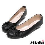 (現貨+預購) 【Miaki】MIT 流行百搭抓皺造型低跟包鞋娃娃鞋 (黑色)