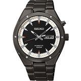 SEIKO Kinetic 極地傳說人動電能腕錶-IP黑 5M83-0AB0SD