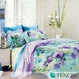 《水墨漬花》雙人100%天絲TENCEL四件式兩用被床包組