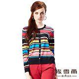 【麥雪爾】排扣造型彩色條紋針織上衣