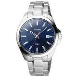 SEIKO 新世代理想日期都會腕錶-深藍x銀