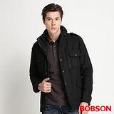 BOBSON 男款中長版毛呢外套 (黑32038-88)