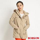 BOBSON 女款連帽鋪棉長版外套(卡其32108-72)