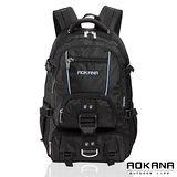 【AOKANA奧卡納】台灣扣具 炫黑後背包 電腦後背包(藍字68-074)