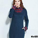 【KVOLL大尺碼】藍色格紋假二件長版針織上衣