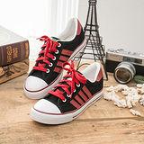 中國強 MIT 百搭休閒帆布鞋CH81(黑紅)男鞋