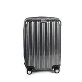 MOM JAPAN 日本品牌 18吋 PC輕量鏡面直線條飛機輪旅行箱 髮絲黑 MF5008-18-BK