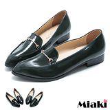 【Miaki】MIT 個性潮流尖頭平底包鞋休閒鞋 (綠色 / 黑色)