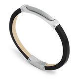 Brosway Boogie系列 銀色不鏽鋼皮革手環-黑色
