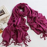 【南秀絲語】純色圍巾 柔軟保暖批肩(紫色009DL)