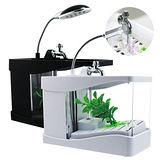 辦公室多功能USB桌上型水族箱魚缸 檯燈 筆筒
