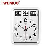 【TWEMCO】機械式翻頁鐘 德國機芯 英文萬年曆 掛鐘 BQ-12A 白色