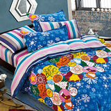 FOCA《叮噹時節》雙人100%精梳棉四件式舖棉兩用被床包組