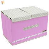 田園風38X25雙蓋硬盒式大衣物雜物整理箱收納袋(45L)