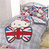 【享夢城堡】HELLO KITTY英倫風系列-單人床包兩用被組(灰)