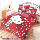 【享夢城堡】HELLO KITTY嗨~你好嗎系列-雙人四件式床包被套組(紅)