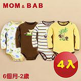 (購物車)【MOM AND BAB】小小動物園長袖肩扣包屁衣(四件組禮盒組)