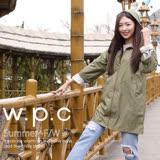 【w.p.c.】2 way袖子可折。時尚雨衣/風衣(R9001)-軍綠