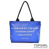 【TOP GIRL】率性字母手提托特包/側背包-小-寶藍