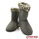 【TOP GIRL】甜美溫暖系豹紋毛毛雪靴-輕盈灰