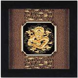 鹿港窯-立體金箔畫-祥龍獻瑞(框畫系列24.5x24.5cm)