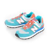 New Balance(女)麂皮復古慢跑鞋-藍螢光綠-WL574CPE