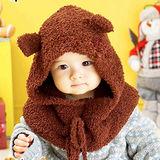 韓國可愛熊連帽圍脖帽子