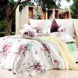 《KOSNEY 薔薇愛戀》特大100%天絲TENCEL四件式兩用被床包組