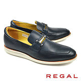 【REGAL】金屬鍊扣休閒皮鞋 深藍(54HR-NAVY)