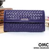 OMC - 韓國專櫃立體編織真皮多層手拿式長夾-羅蘭紫