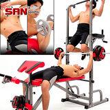 【SAN SPORTS】第四代室內單槓雙槓+舉重床 MC177-10104 仰臥起坐板仰臥板.健腹機健腹器