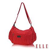 ELLE 優雅淑女皺褶包 大空間 托特側背包款 LOGO防潑水設計款-紅EL82345-01