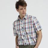 【hilltop山頂鳥】男款SUPPLEX 吸濕快乾短袖襯衫S06M53-白/水藍格子