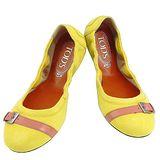 TODS 麂皮豆豆弧形芭蕾舞鞋(37.5號)(檸檬黃色)