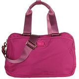 agnes b. 雙槓金屬LOGO尼龍旅行袋(小/紫紅)