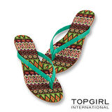 TOP GIRL 炫彩圖騰夾腳拖鞋-藍綠花