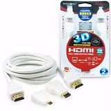 HDMI 1.4版 高速乙太網路高畫質3D影音傳輸線(附二款轉接頭)-2M