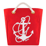 GUCCI 船錨圖樣厚織帆布小型托特包(紅色)