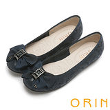 ORIN 時尚大躍升 織帶蝴蝶結花紋平底娃娃鞋-藍色