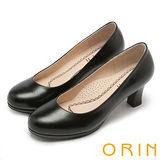 ORIN 都會時尚OL 柔軟羊皮典雅素面高跟鞋-黑色