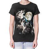 【摩達客】(預購)美國進口The Mountain  三狼嚎月 短袖女長版T恤精梳棉環保染