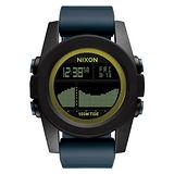 NIXON Unit Tide 飆悍美式軍風運動腕錶-錶帶藍灰