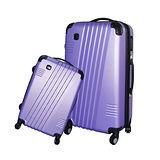 【BATOLON寶龍】24+28吋/大組-時尚斜線條ABS輕硬殼旅行拉桿箱
