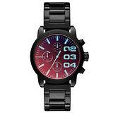 DIESEL 強悍自我時尚三眼計時腕錶-黑x鍍膜玻璃