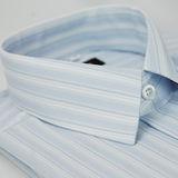 【金安德森】藍底藍細紋仿絲質短袖襯衫