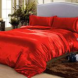 (任選)RODERLY 摩登紅 絲緞 雙人四件式被套床包組