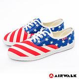 AIRWALK(女) - I LOVE U.S.A. 美國旗子活力青春帆布鞋 - 紅藍白