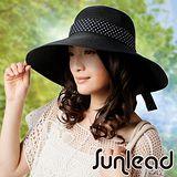 Sunlead 防曬寬緣寬圓頂抗UV浪漫蝴蝶結造型遮陽帽 (黑色)