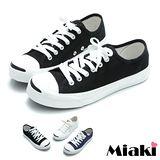 【Miaki】帆布鞋微笑平底綁帶休閒包鞋 (白色/黑色/藍色)